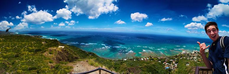 View from top of Diamond Head Volcano after exercise to get to the top of this almost 800 foot high climb.