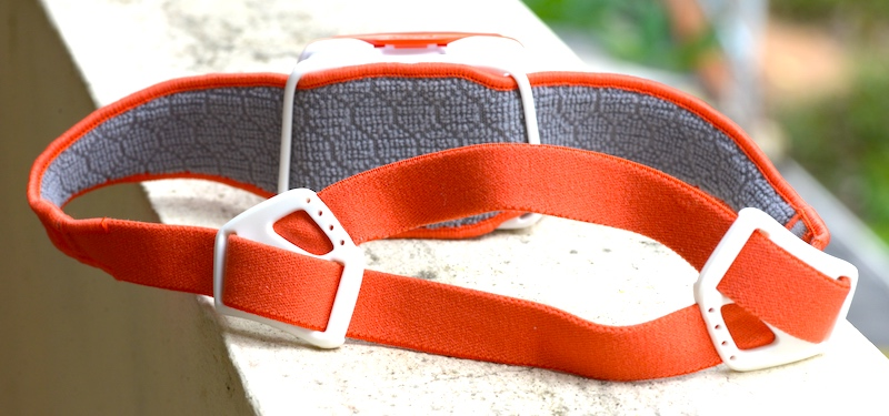 PETZL TIKKA RXP terry cloth strap and adjustment.